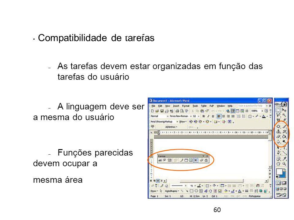 60 Compatibilidade de tarefas – As tarefas devem estar organizadas em função das tarefas do usuário – A linguagem deve ser a mesma do usuário – Funções parecidas devem ocupar a mesma área Princípios gerais para o desenho de interfaces