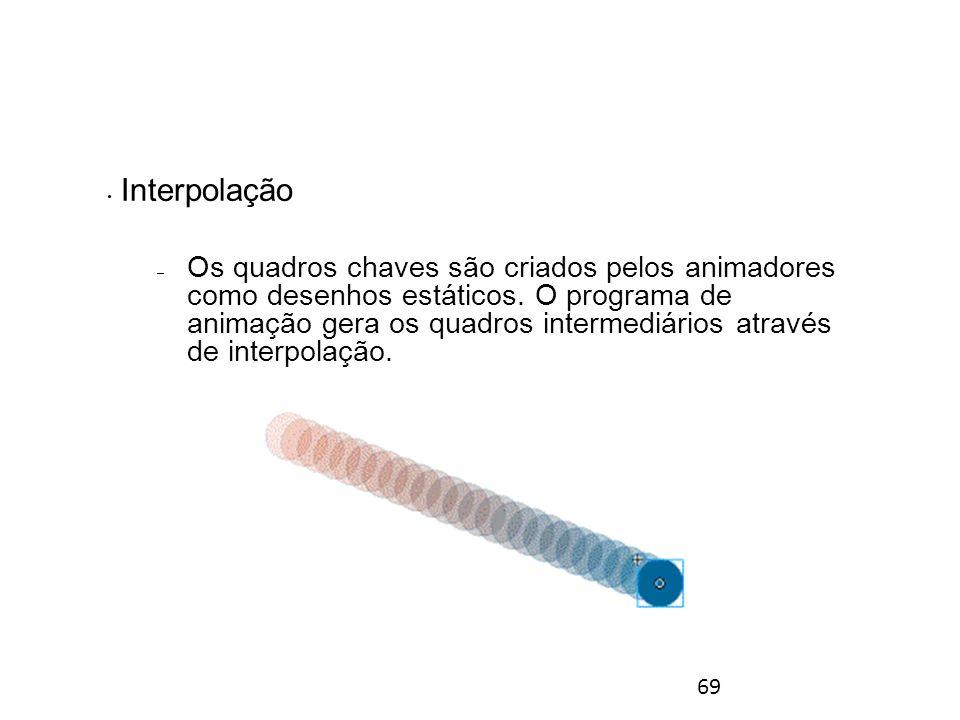 69 Interpolação – Os quadros chaves são criados pelos animadores como desenhos estáticos.