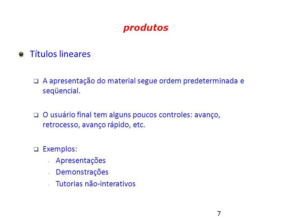 8 Tipos de produtos multimídia Títulos hipermídia  A ordem de visualização é determinada pelo usuário final, que disporá de controles para navegação não-seqüencial.