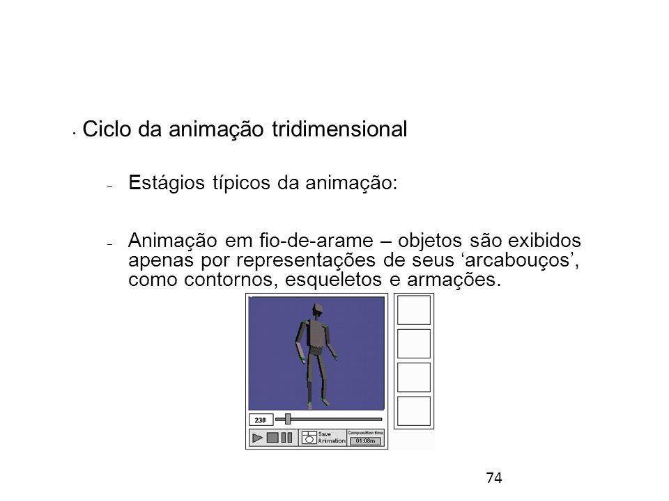 74 Ciclo da animação tridimensional – Estágios típicos da animação: – Animação em fio-de-arame – objetos são exibidos apenas por representações de seus 'arcabouços', como contornos, esqueletos e armações.