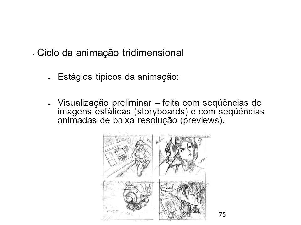 75 Ciclo da animação tridimensional – Estágios típicos da animação: – Visualização preliminar – feita com seqüências de imagens estáticas (storyboards) e com seqüências animadas de baixa resolução (previews).