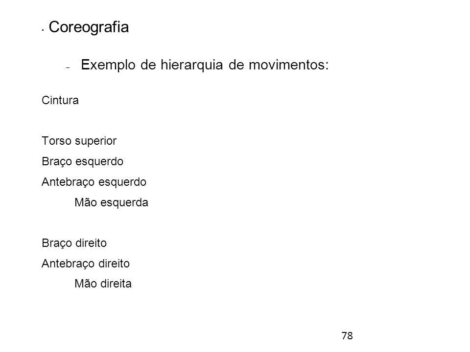 78 Coreografia – Exemplo de hierarquia de movimentos: Cintura Torso superior Braço esquerdo Antebraço esquerdo Mão esquerda Braço direito Antebraço direito Mão direita Animação tridimensional