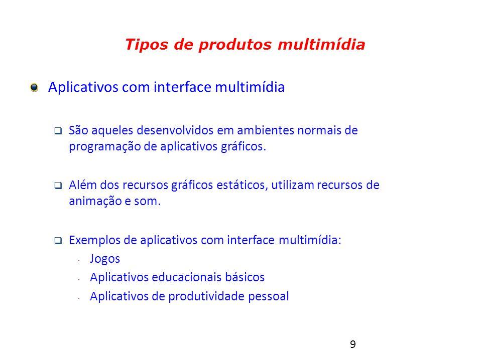 9 Tipos de produtos multimídia Aplicativos com interface multimídia  São aqueles desenvolvidos em ambientes normais de programação de aplicativos gráficos.