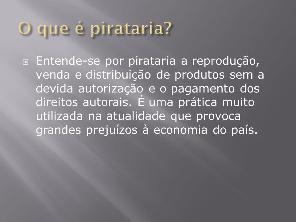  Entende-se por pirataria a reprodução, venda e distribuição de produtos sem a devida autorização e o pagamento dos direitos autorais. É uma prática