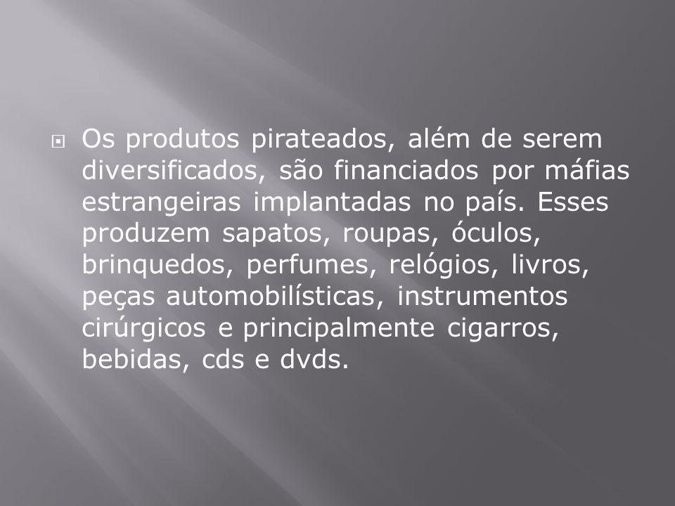  Os produtos pirateados, além de serem diversificados, são financiados por máfias estrangeiras implantadas no país. Esses produzem sapatos, roupas, ó