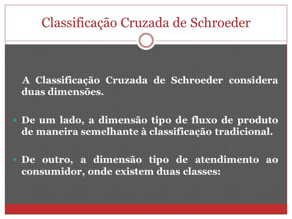 Classificação Cruzada de Schroeder A Classificação Cruzada de Schroeder considera duas dimensões. De um lado, a dimensão tipo de fluxo de produto de m