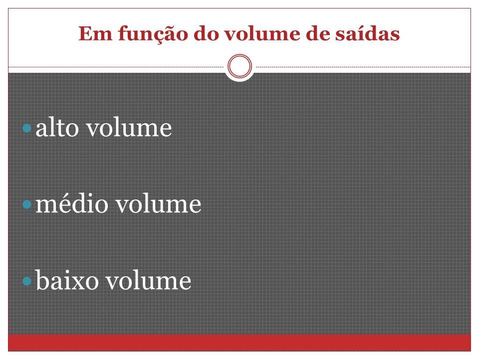 Em função do volume de saídas alto volume médio volume baixo volume