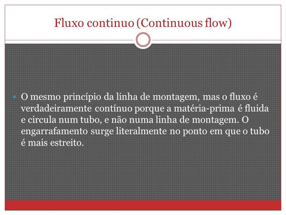 Fluxo continuo (Continuous flow) O mesmo princípio da linha de montagem, mas o fluxo é verdadeiramente contínuo porque a matéria-prima é fluida e circula num tubo, e não numa linha de montagem.
