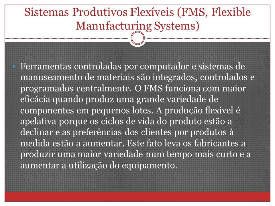 Sistemas Produtivos Flexíveis (FMS, Flexible Manufacturing Systems) Ferramentas controladas por computador e sistemas de manuseamento de materiais são integrados, controlados e programados centralmente.