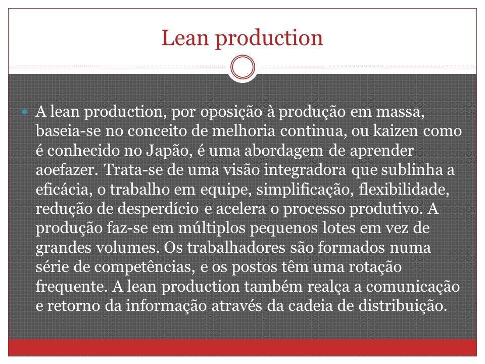 Lean production A lean production, por oposição à produção em massa, baseia-se no conceito de melhoria continua, ou kaizen como é conhecido no Japão, é uma abordagem de aprender aoefazer.