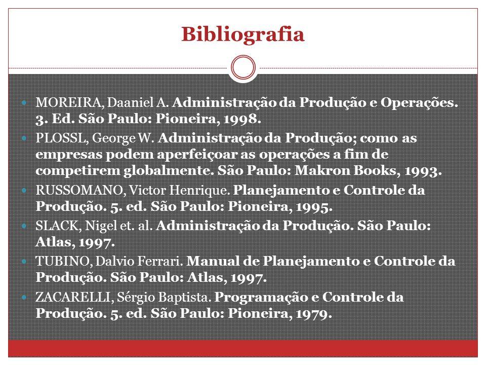Bibliografia MOREIRA, Daaniel A. Administração da Produção e Operações. 3. Ed. São Paulo: Pioneira, 1998. PLOSSL, George W. Administração da Produção;