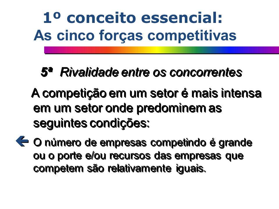 5ª Rivalidade entre os concorrentes A competição em um setor é mais intensa em um setor onde predominem as seguintes condições: ç O número de empresas
