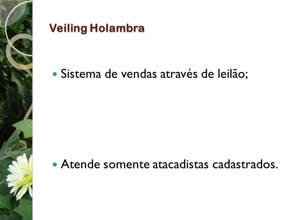 Veiling Holambra Sistema de vendas através de leilão; Atende somente atacadistas cadastrados.