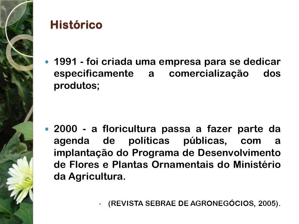 Histórico 1991 - foi criada uma empresa para se dedicar especificamente a comercialização dos produtos; 2000 - a floricultura passa a fazer parte da a