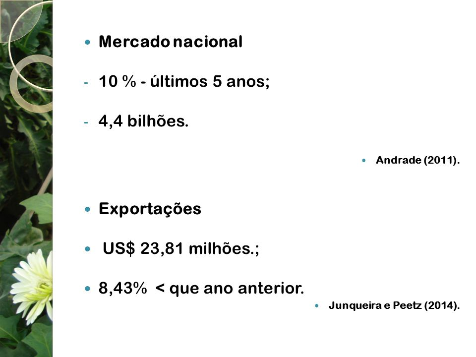 Mercado nacional - 10 % - últimos 5 anos; - 4,4 bilhões. Andrade (2011). Exportações US$ 23,81 milhões.; 8,43% < que ano anterior. Junqueira e Peetz (