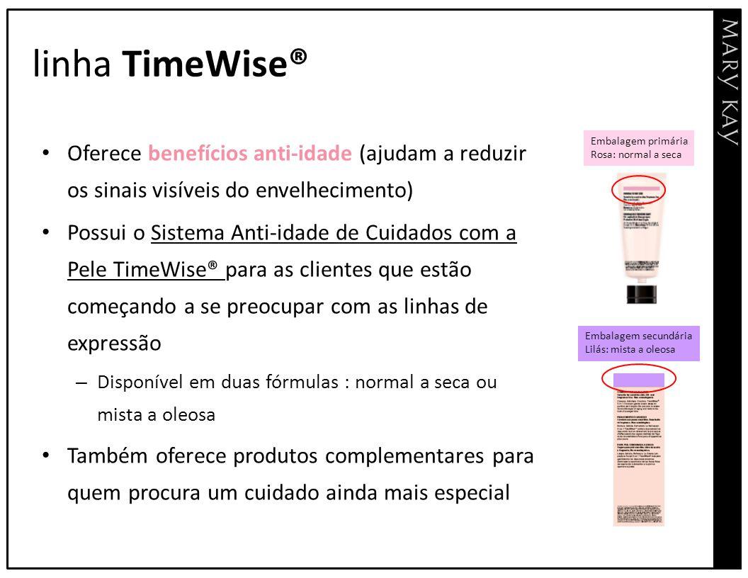 linha TimeWise® Oferece benefícios anti-idade (ajudam a reduzir os sinais visíveis do envelhecimento) Possui o Sistema Anti-idade de Cuidados com a Pe