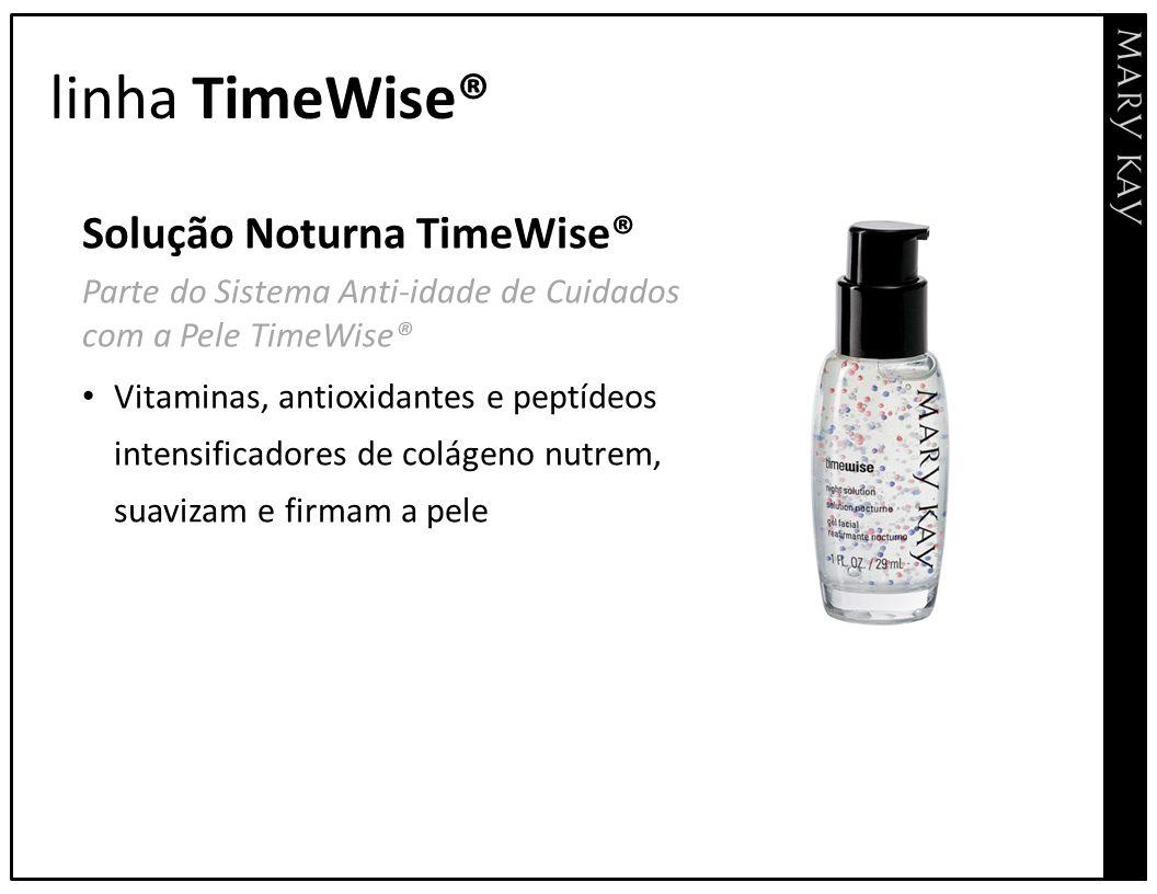 linha TimeWise® Solução Noturna TimeWise® Parte do Sistema Anti-idade de Cuidados com a Pele TimeWise® Vitaminas, antioxidantes e peptídeos intensific