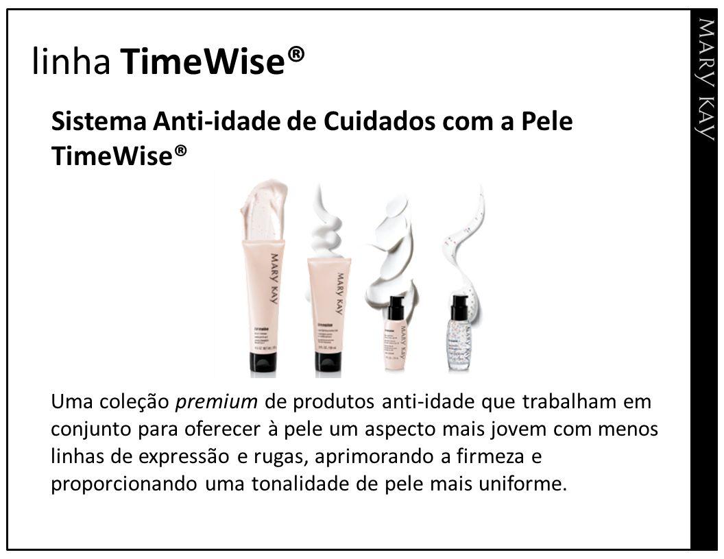 linha TimeWise® Sistema Anti-idade de Cuidados com a Pele TimeWise® Uma coleção premium de produtos anti-idade que trabalham em conjunto para oferecer