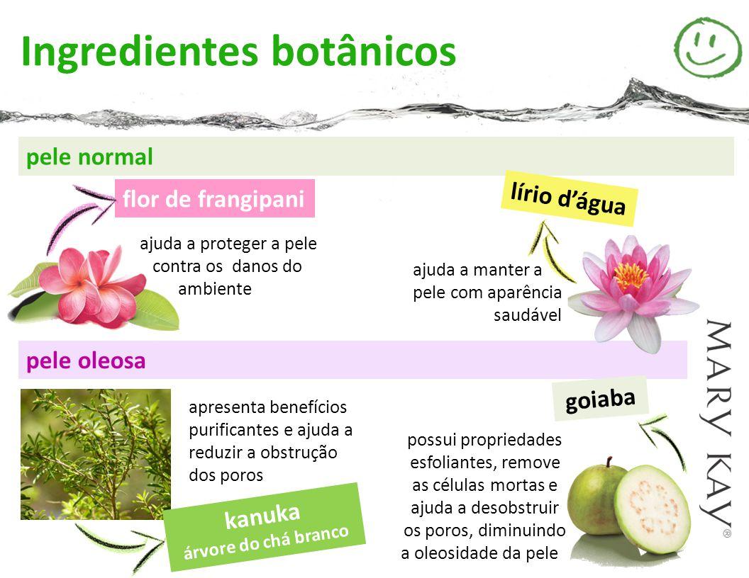 ajuda a manter a pele com aparência saudável pele normal flor de frangipani lírio d'água ajuda a proteger a pele contra os danos do ambiente pele oleo