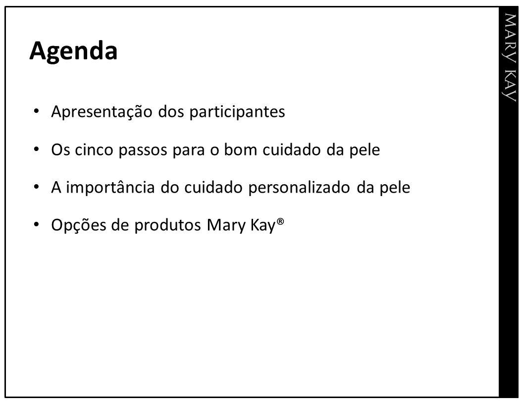 Agenda Apresentação dos participantes Os cinco passos para o bom cuidado da pele A importância do cuidado personalizado da pele Opções de produtos Mar