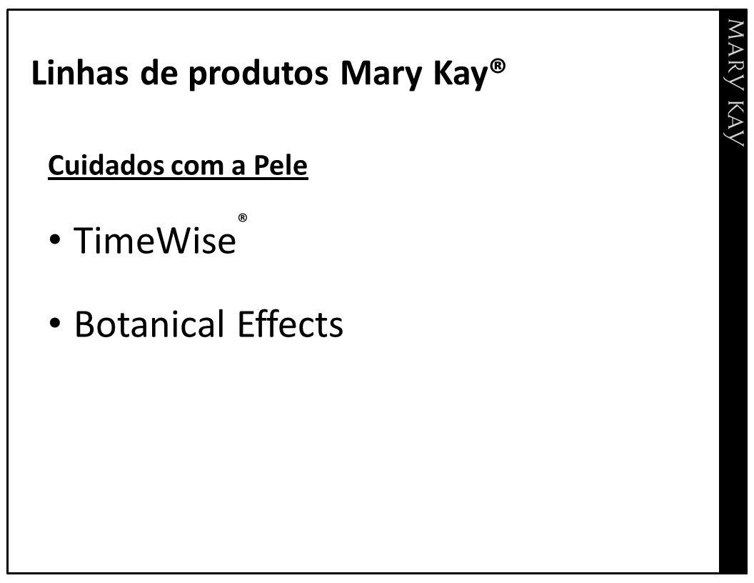 Linhas de produtos Mary Kay® Cuidados com a Pele TimeWise ® Botanical Effects