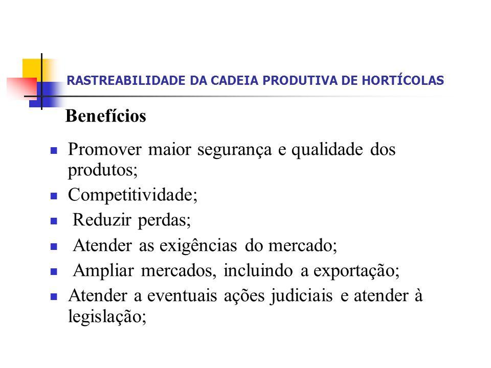 RASTREABILIDADE DA CADEIA PRODUTIVA DE HORTÍCOLAS Fornecer diretrizes no estabelecimento de Boas Práticas de Produção e Prestação de Serviços na área de alimentos.