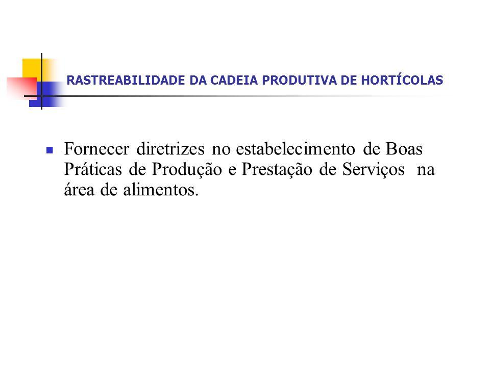 RASTREABILIDADE DA CADEIA PRODUTIVA DE HORTÍCOLAS Fornecer diretrizes no estabelecimento de Boas Práticas de Produção e Prestação de Serviços na área