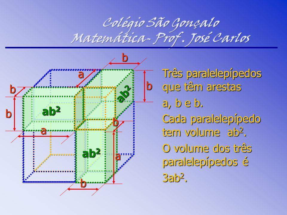 Três paralelepípedos que têm arestas a, b e b. Cada paralelepípedo tem volume ab 2. O volume dos três paralelepípedos é 3ab 2. ab 2 b b a b a a b b b