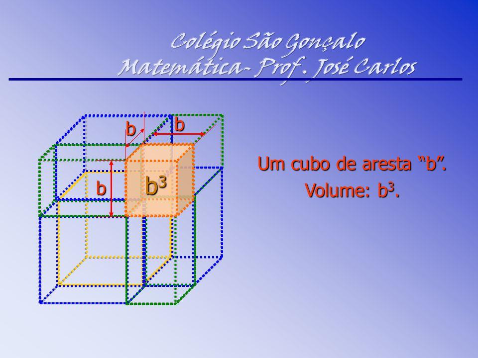 "Um cubo de aresta ""b"". Volume: b 3. b3b3b3b3 b b b"