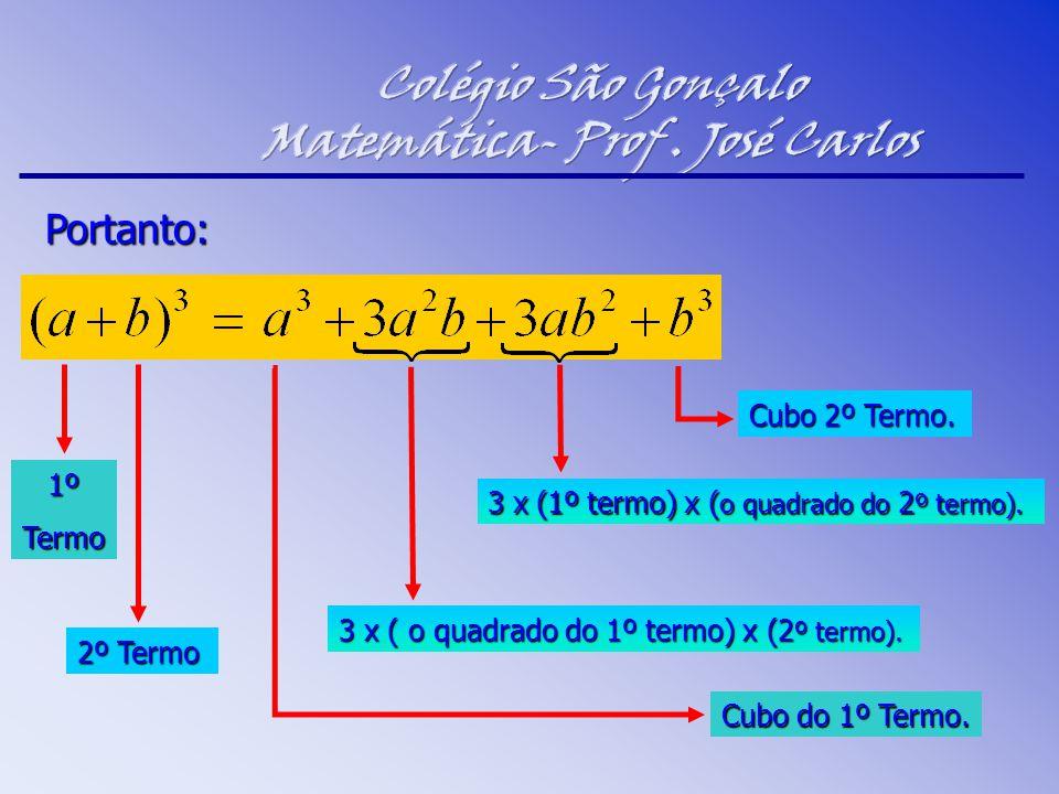 Portanto: 1ºTermo 2º Termo Cubo do 1º Termo. Cubo 2º Termo. 3 x ( o quadrado do 1º termo) x (2 º termo). 3 x (1º termo) x ( o quadrado do 2 º termo).