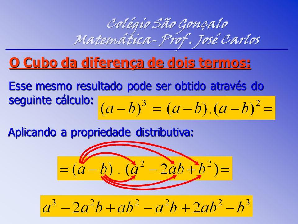 Esse mesmo resultado pode ser obtido através do seguinte cálculo: Aplicando a propriedade distributiva: O Cubo da diferença de dois termos: