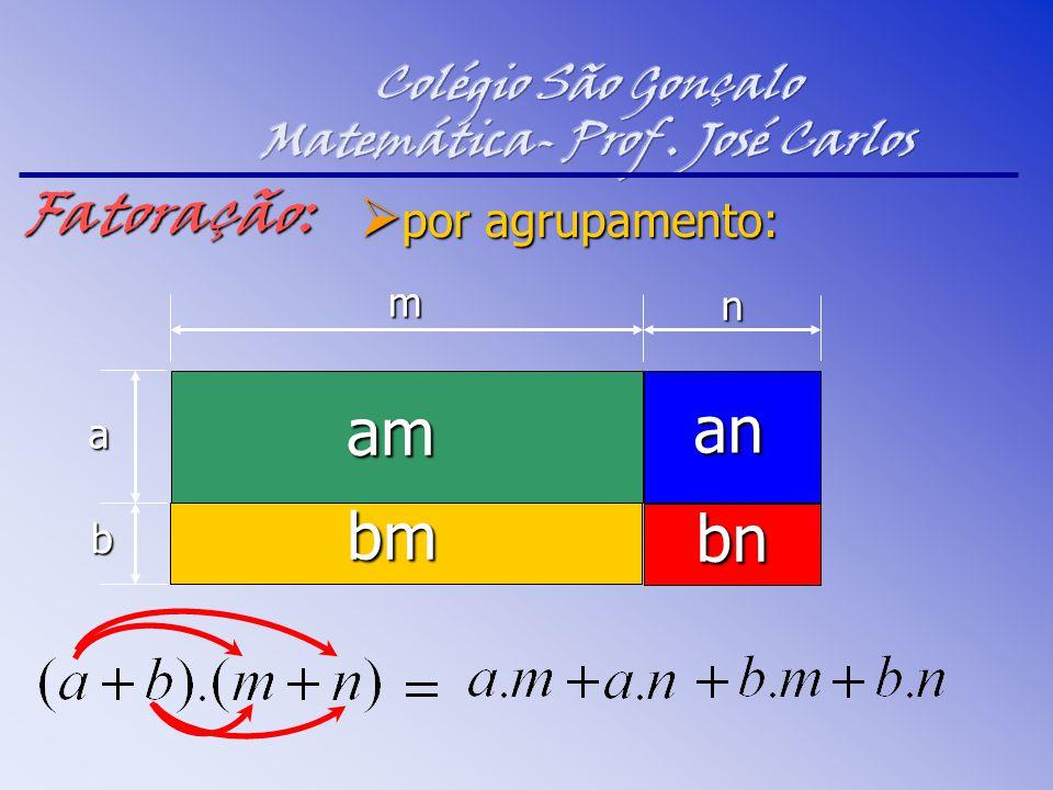  por agrupamento: am b a m nFatoração: bm an bn
