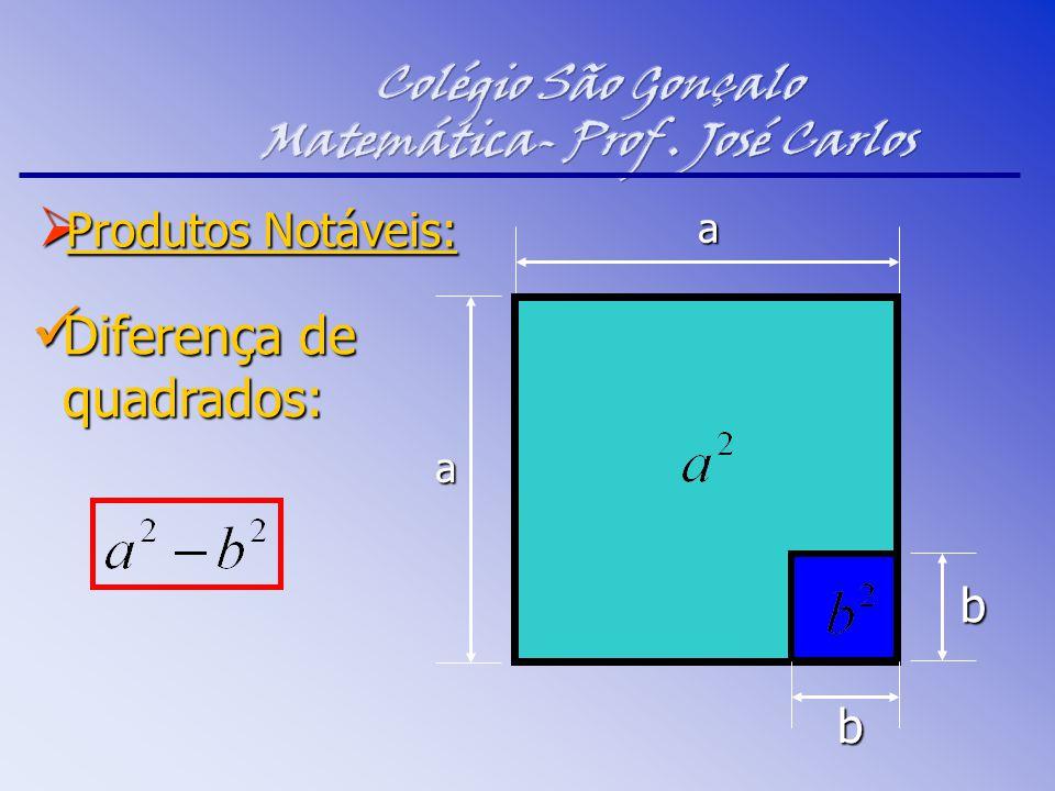  Produtos Notáveis: Diferença de quadrados: Diferença de quadrados: b a a b