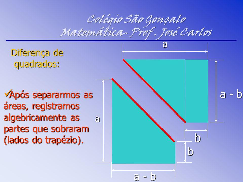 Após separarmos as áreas, registramos algebricamente as partes que sobraram (lados do trapézio). Após separarmos as áreas, registramos algebricamente