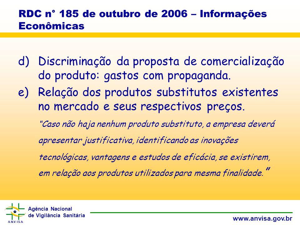 Agência Nacional de Vigilância Sanitária www.anvisa.gov.br RDC n° 185 de outubro de 2006 – Informações Econômicas d)Discriminação da proposta de comercialização do produto: gastos com propaganda.