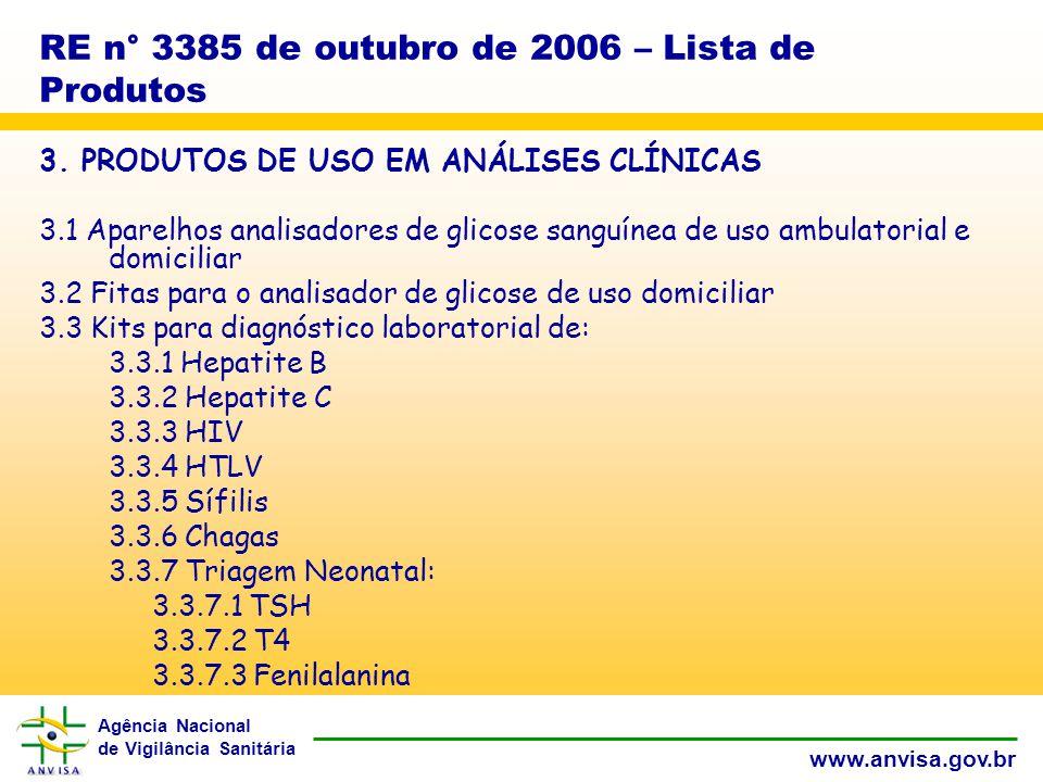 Agência Nacional de Vigilância Sanitária www.anvisa.gov.br RE n° 3385 de outubro de 2006 – Lista de Produtos 3.