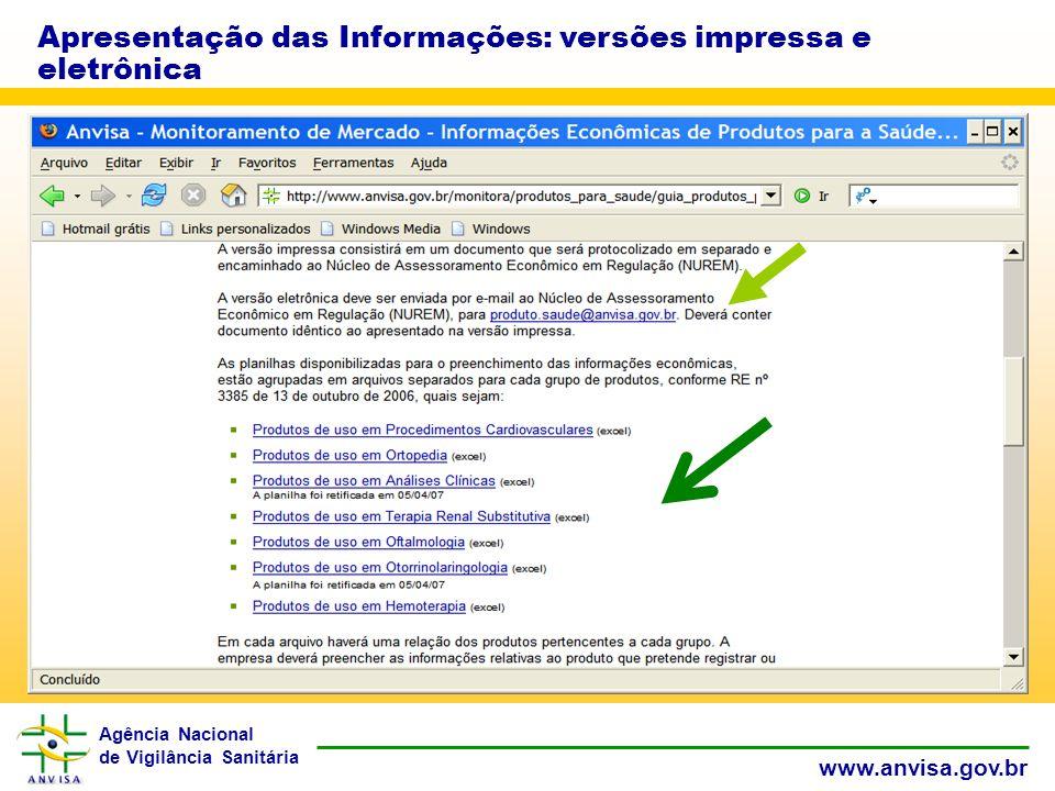 Agência Nacional de Vigilância Sanitária www.anvisa.gov.br Apresentação das Informações: versões impressa e eletrônica