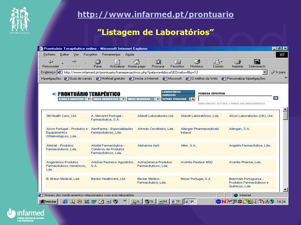 http://www.infarmed.pt/prontuario http://www.infarmed.pt/prontuario Listagem de Laboratórios