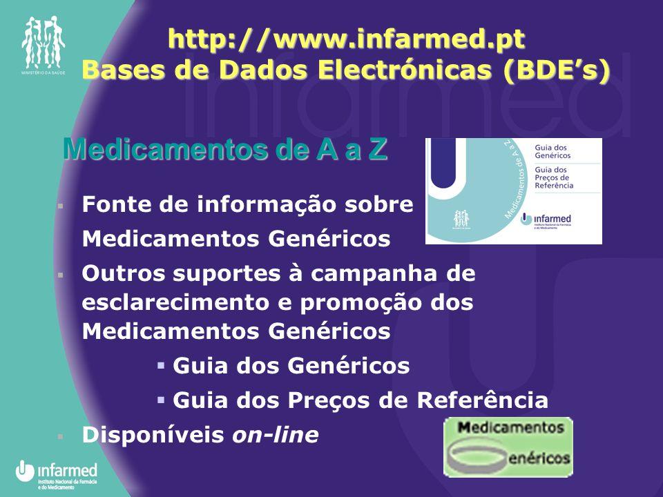 Medicamentos de A a Z  Fonte de informação sobre Medicamentos Genéricos  Outros suportes à campanha de esclarecimento e promoção dos Medicamentos Ge