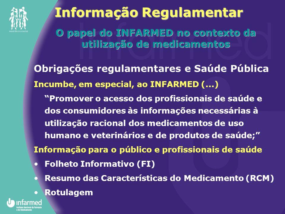 Informação Regulamentar O papel do INFARMED no contexto da utilização de medicamentos Obrigações regulamentares e Saúde Pública Incumbe, em especial,