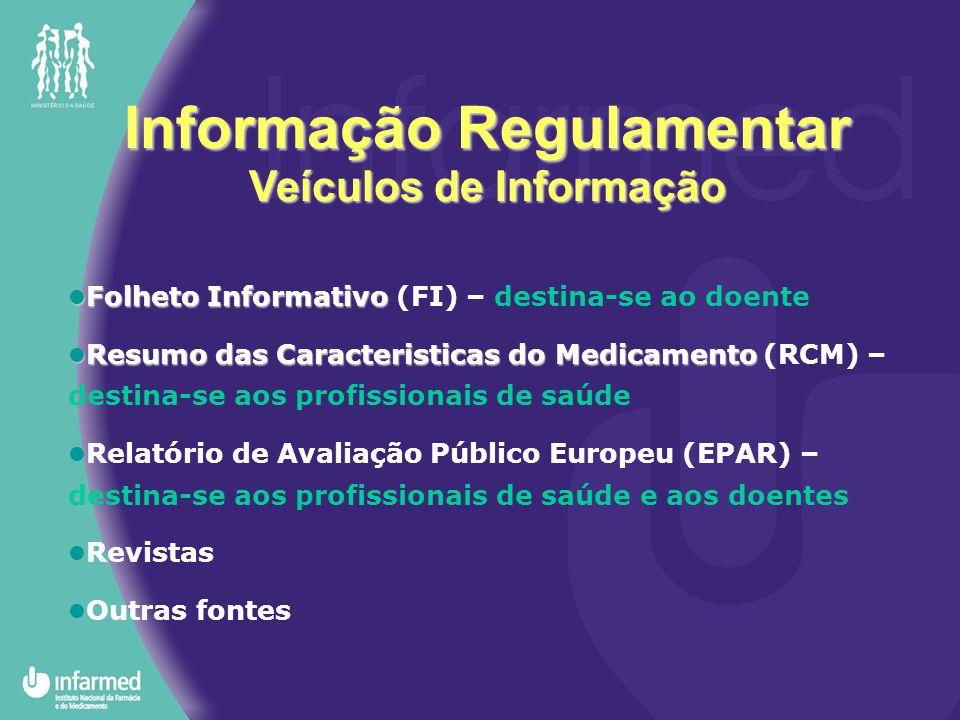 Informação Regulamentar Veículos de Informação Folheto Informativo Folheto Informativo (FI) – destina-se ao doente Resumo das Caracteristicas do Medic