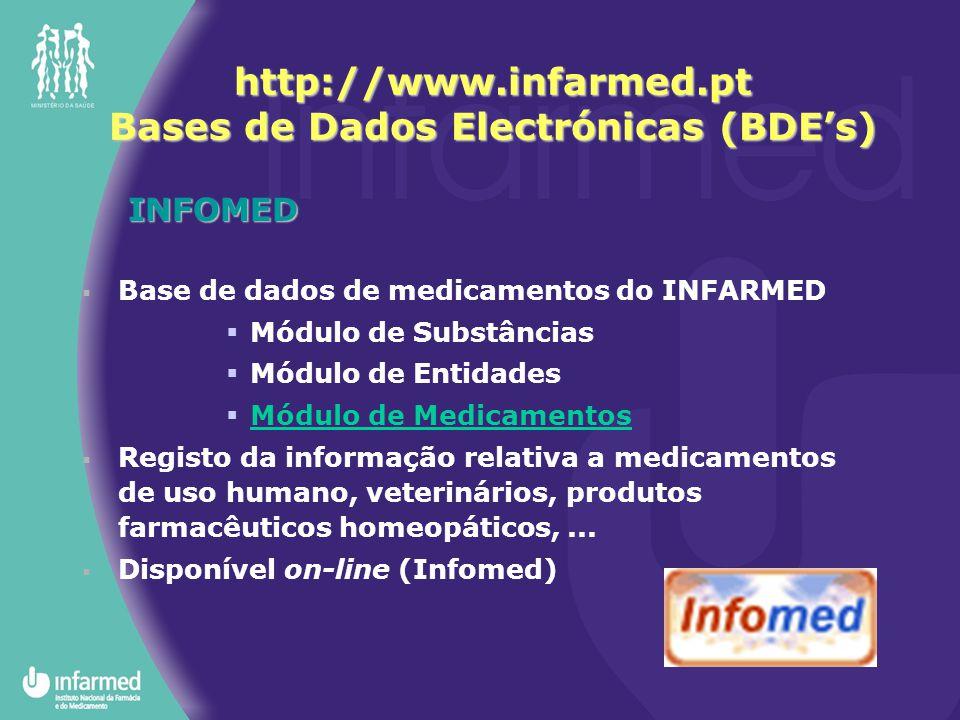 INFOMED  Base de dados de medicamentos do INFARMED  Módulo de Substâncias  Módulo de Entidades  Módulo de Medicamentos  Registo da informação relativa a medicamentos de uso humano, veterinários, produtos farmacêuticos homeopáticos,...