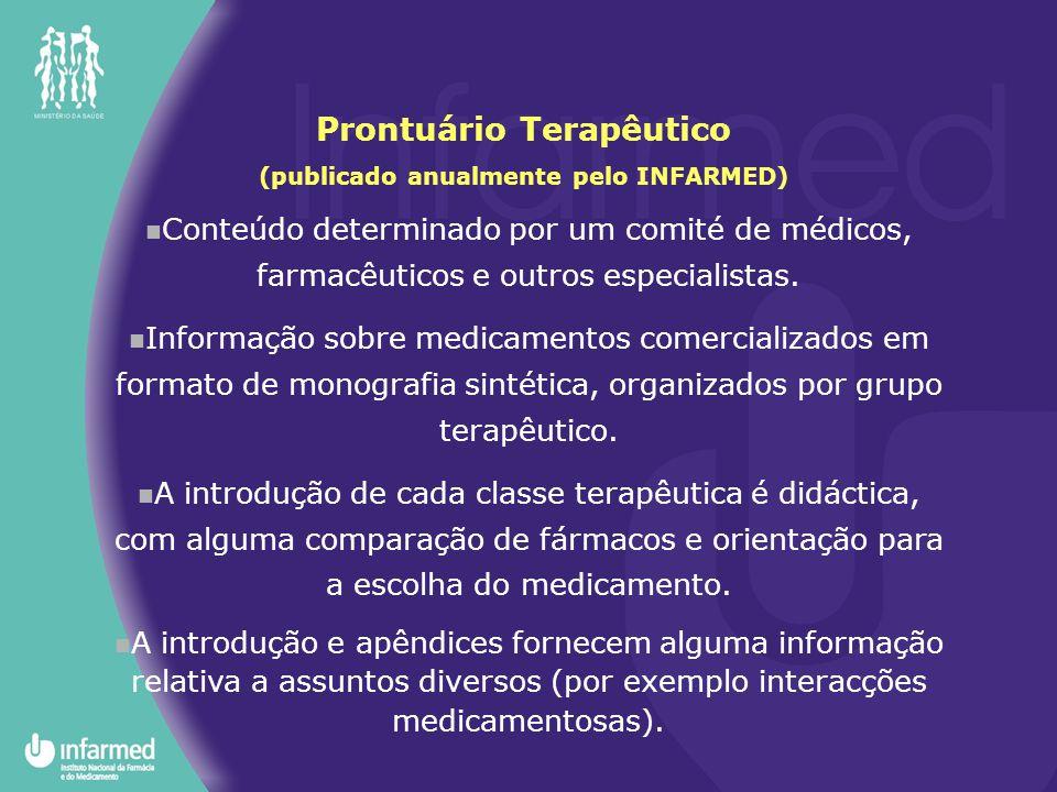 Conteúdo determinado por um comité de médicos, farmacêuticos e outros especialistas. Informação sobre medicamentos comercializados em formato de monog