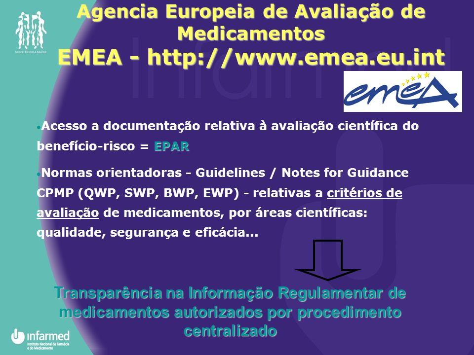 Agencia Europeia de Avaliação de Medicamentos EMEA - http://www.emea.eu.int EPAR  Acesso a documentação relativa à avaliação científica do benefício-risco = EPAR  Normas orientadoras - Guidelines / Notes for Guidance CPMP (QWP, SWP, BWP, EWP) - relativas a critérios de avaliação de medicamentos, por áreas científicas: qualidade, segurança e eficácia...