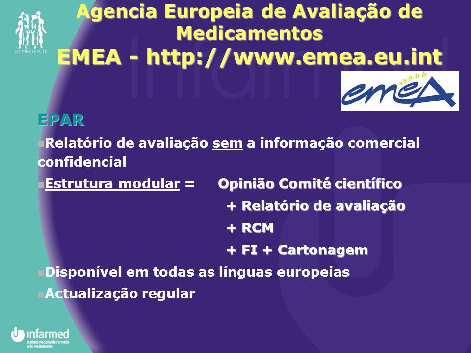 Agencia Europeia de Avaliação de Medicamentos EMEA - http://www.emea.eu.int EPAR Relatório de avaliação sem a informação comercial confidencial Opinião Comité científico Estrutura modular = Opinião Comité científico + Relatório de avaliação + RCM + FI + Cartonagem Disponível em todas as línguas europeias Actualização regular