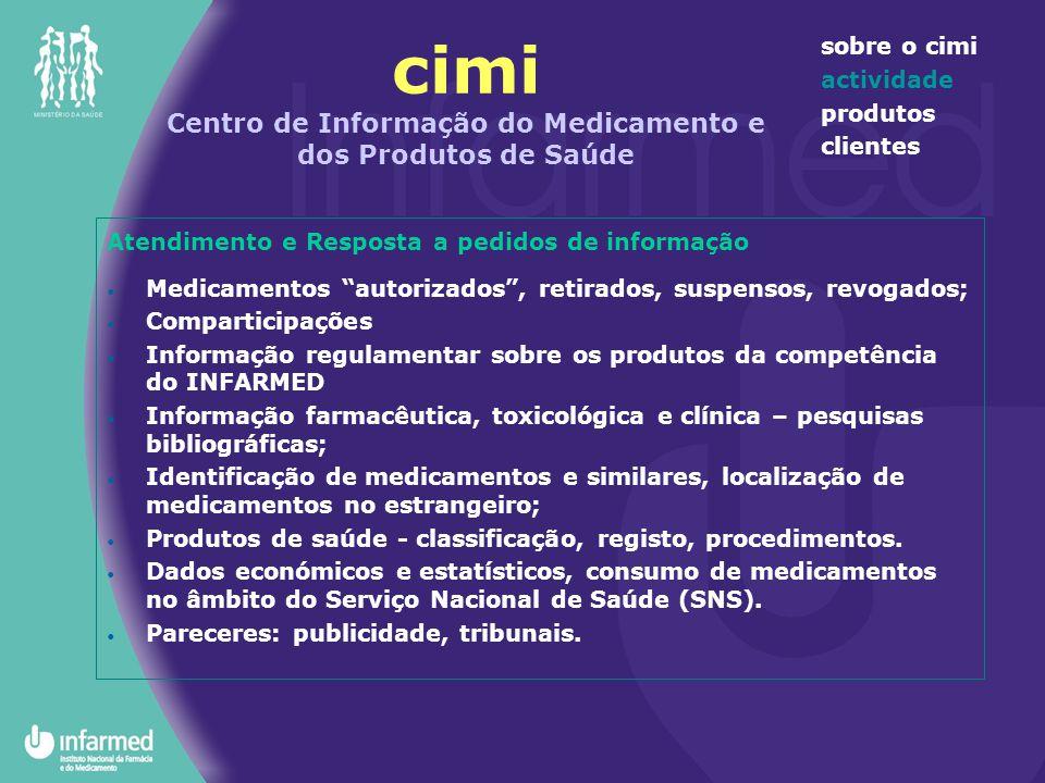 cimi Centro de Informação do Medicamento e dos Produtos de Saúde sobre o cimi actividade produtos clientes Atendimento e Resposta a pedidos de informa