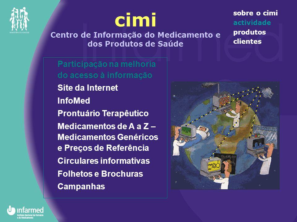 cimi Centro de Informação do Medicamento e dos Produtos de Saúde sobre o cimi actividade produtos clientes Participação na melhoria do acesso à inform
