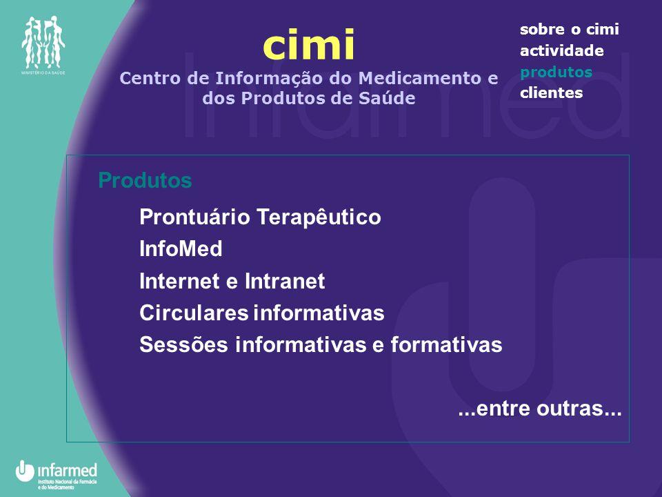 cimi Centro de Informação do Medicamento e dos Produtos de Saúde sobre o cimi actividade produtos clientes Produtos Prontuário Terapêutico InfoMed Int