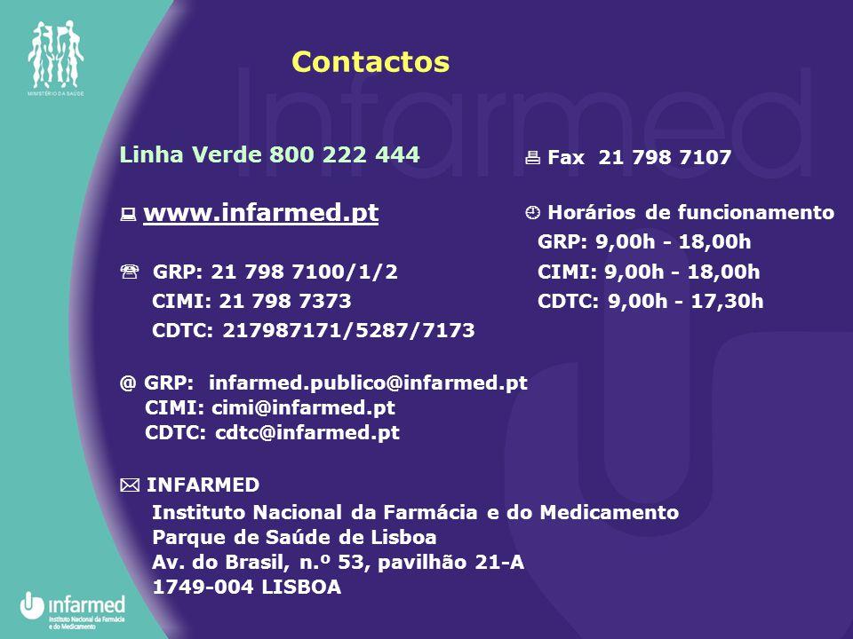 Linha Verde 800 222 444  www.infarmed.pt  GRP: 21 798 7100/1/2 CIMI: 21 798 7373 CDTC: 217987171/5287/7173 @ GRP: infarmed.publico@infarmed.pt CIMI: