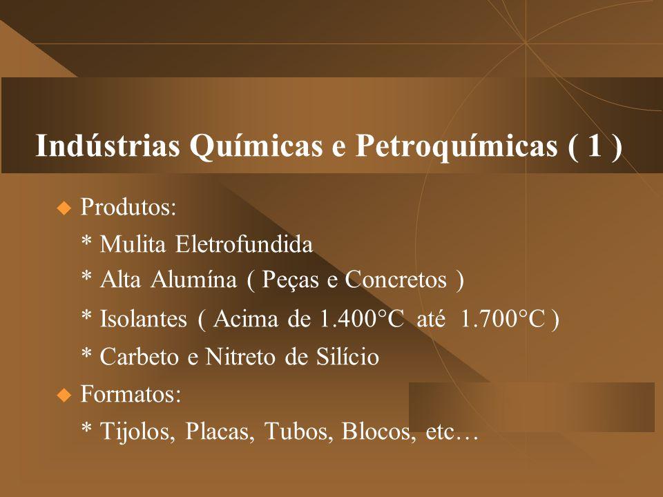 Indústrias Químicas e Petroquímicas ( 1 )  Produtos: * Mulita Eletrofundida * Alta Alumína ( Peças e Concretos ) * Isolantes ( Acima de 1.400°C até 1.700°C ) * Carbeto e Nitreto de Silício  Formatos: * Tijolos, Placas, Tubos, Blocos, etc…
